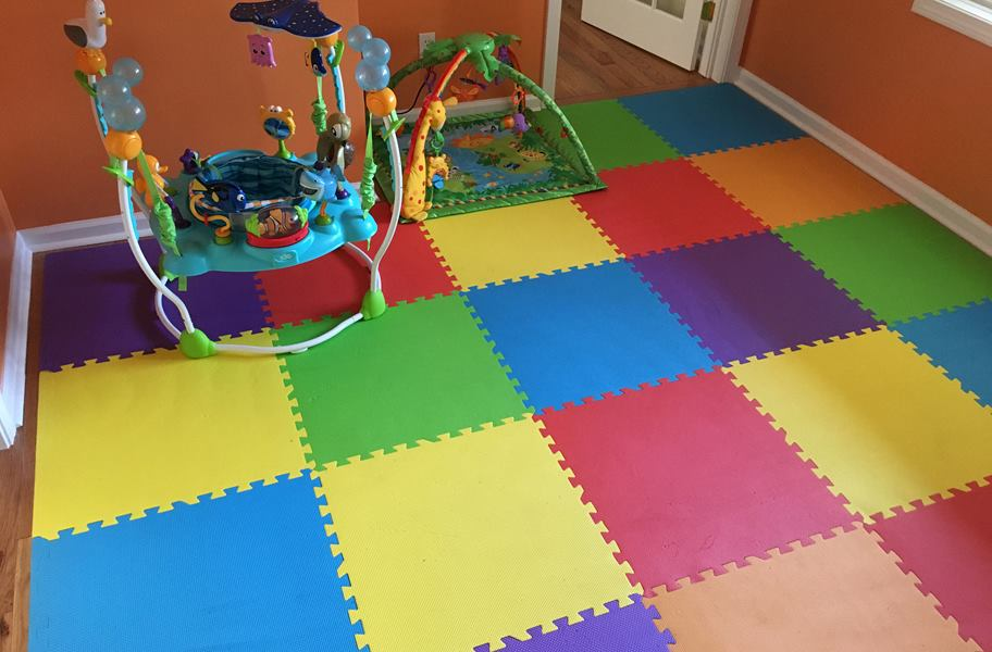 Rainbow Play Mats Colorful Interlocking Foam Tile Pack